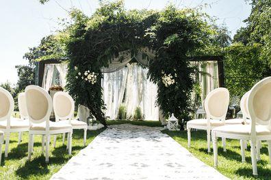 Empty outdoor wedding setting.
