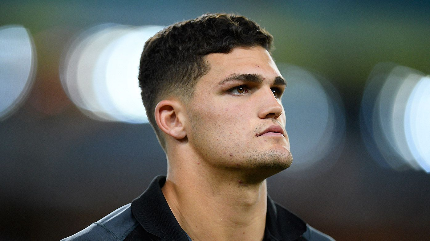 Nathan Cleary of the Panthers is seen after sustaining an injury