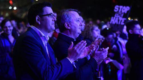 The state's Premier Daniel Andrews (left) attended the vigil. (AAP)