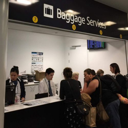 Passengers were told to contact baggage services after learning their luggage was left in Bali. (9NEWS)