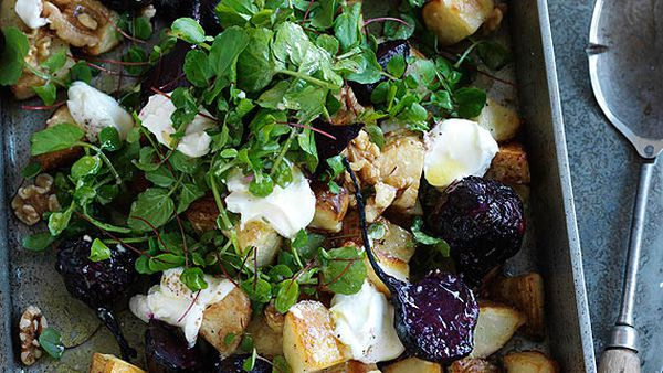 Roast potato, baby beetroot and walnut salad