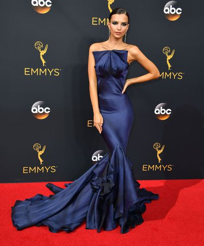 <p>The red carpet Emmy Awards in that Zac Posen gown and the incredible Cleopatra eye that went with it.</p> <p>Image: Getty.</p>