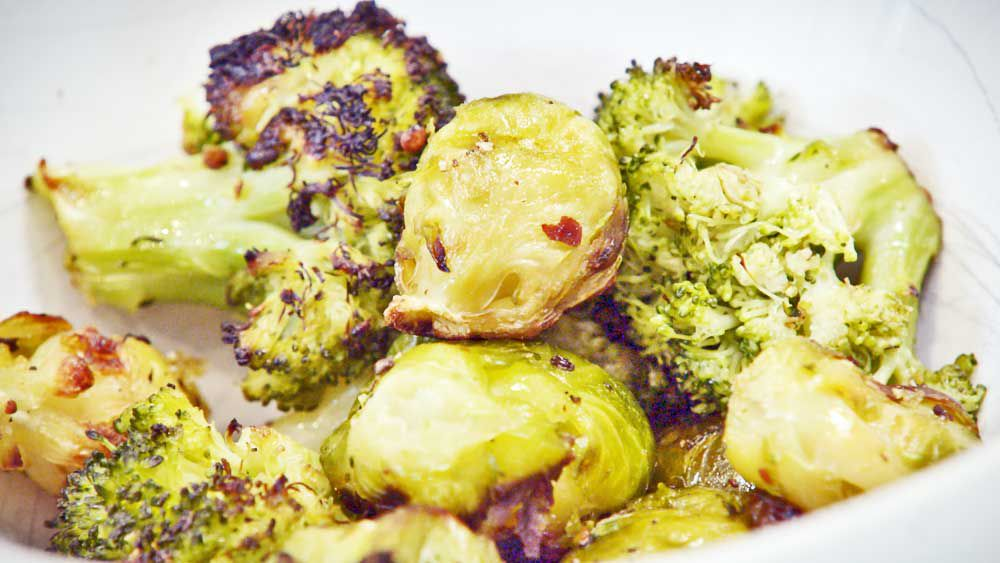Grilled broccoli and Brussels sprouts