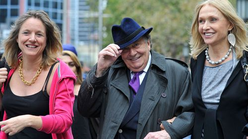 Entertainer Barry Humphries attends the service. (AAP)