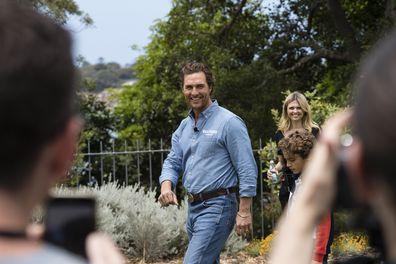 Matthew McConaughey and his son, Levi, in Sydney