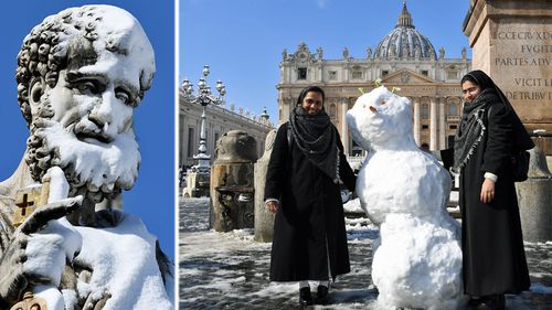 Snow covers Rome and Vatican City. (AP).