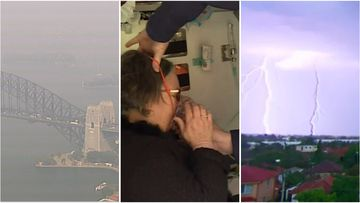 A severe asthma warning is in place  as smoke hazes and thunderstorms hit parts of Australia.