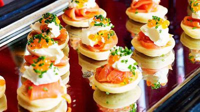 """Recipe:<a href=""""http://kitchen.nine.com.au/2016/05/16/16/22/blinis-with-smoked-salmon"""" target=""""_top"""" draggable=""""false"""">Blinis with smoked salmon</a>"""