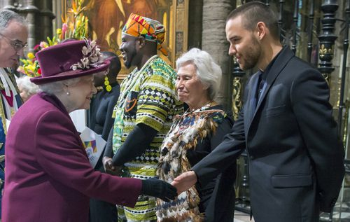 The Queen meets Liam Payne, of One Direction, who performed at the service. Picture: PA/AAP