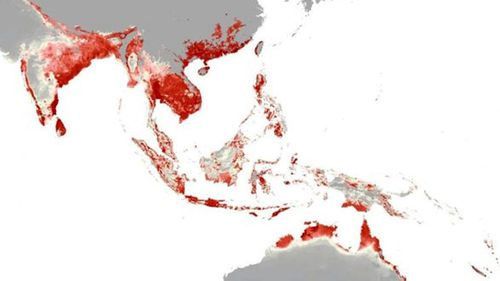 The parts of Southeast Asia and Australia at risk of a Zika virus outbreak. (Oxford University)
