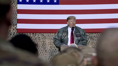 Donald Trump addressing US troops in Iraq.