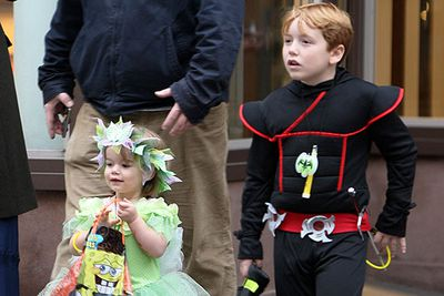 Philip Seymour Hoffman seen with his children Cooper and Willa on Halloween in the West Village in New York City.