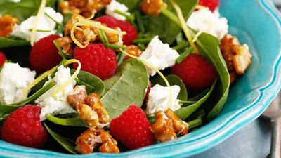 "Click through for our cheeky <a href=""http://kitchen.nine.com.au/2016/12/12/14/19/raspberry-spinach-and-persian-feta-salad-with-salted-candied-walnuts"" target=""_top"">raspberry, spinach and Persian feta salad with salted candied walnuts </a>recipe"