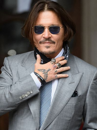 Actor Johnny Depp arrives at the Royal Courts of Justice, Strand on July 16, 2020 in London, England