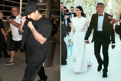 "Kim and Kanye's lavish Florence wedding didn't go off without a hitch...<br/><br/>On the dramatic <i>KUWTK</i> finale, Kim's brother Rob shocked everyone by snubbing the wedding at the last minute and flying back to LA.<br/><br/>Kim revealed that Rob had ""read some nasty comments about himself and he just didn't feel comfortable. He didn't want to see all my guests. It makes me so sad for him. It's heartbreaking."""