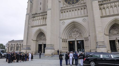 The memorial service was held at Washington Cathedral on Saturday before the senator's body will be laid to rest on Sunday.
