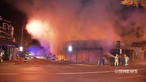 Three businesses burned to the ground. (9NEWS)