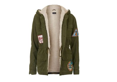 "<a href=""http://www.topshop.com/en/tsuk/product/clothing-427/jackets-coats-2390889/badged-hooded-jacket-5144189?"" target=""_blank"">Parka, $123, Topshop.com</a>"
