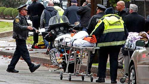 Three officers were also shot in the attack at the Tree of Life Congregation in Pittsburgh's Squirrel Hill neighbourhood. (AP)