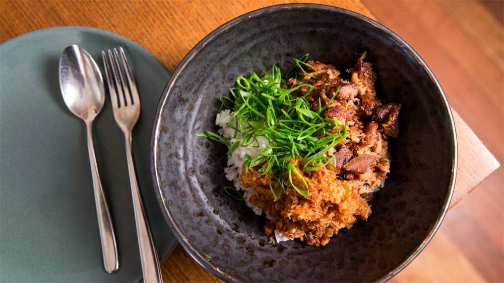 Mitch Orr's vanilla cola braised pig's head, XO, scallion and rice recipe