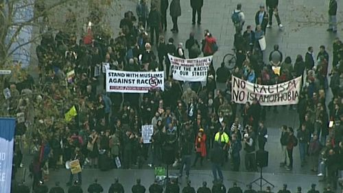 Hundreds of people have rallied in Martin Place. (9NEWS)