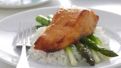 "Recipe: <a href=""http://kitchen.nine.com.au/2016/05/19/11/23/glazed-miso-salmon-and-asparagus"" target=""_top"">Glazed miso salmon and asparagus</a>"