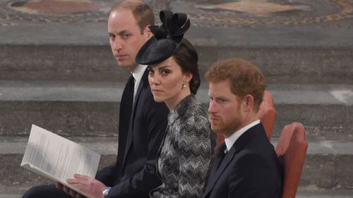 The Duke and Duchess of Cambridge with Prince William at the 'Service of Hope'. (AAP)