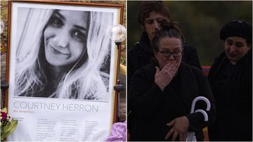 Courtney Herron's family have joined thousands of mourners in a Melbourne park to pay respects to the slain woman.