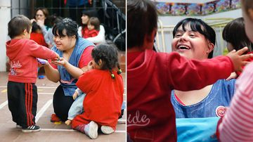 Noelia Garella (C), a kindergarten teacher born with Down syndrome, plays with children at the Jeromito kindergarten in Cordoba, Argentina on September 29, 2016. (AFP)
