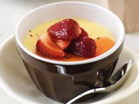 Baked egg custard with lemon strawberry topping