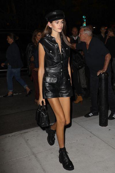 Kaia Gerber on the New York streets demonstrating her model-off-duty style. September 2017.