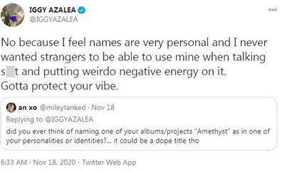 Iggy Azalea, real name, tweet,