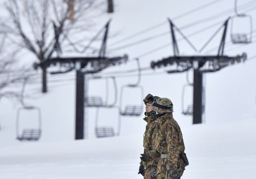 Thirty Japanese soldiers were completing ski training when the avalanche occurred. (AP)