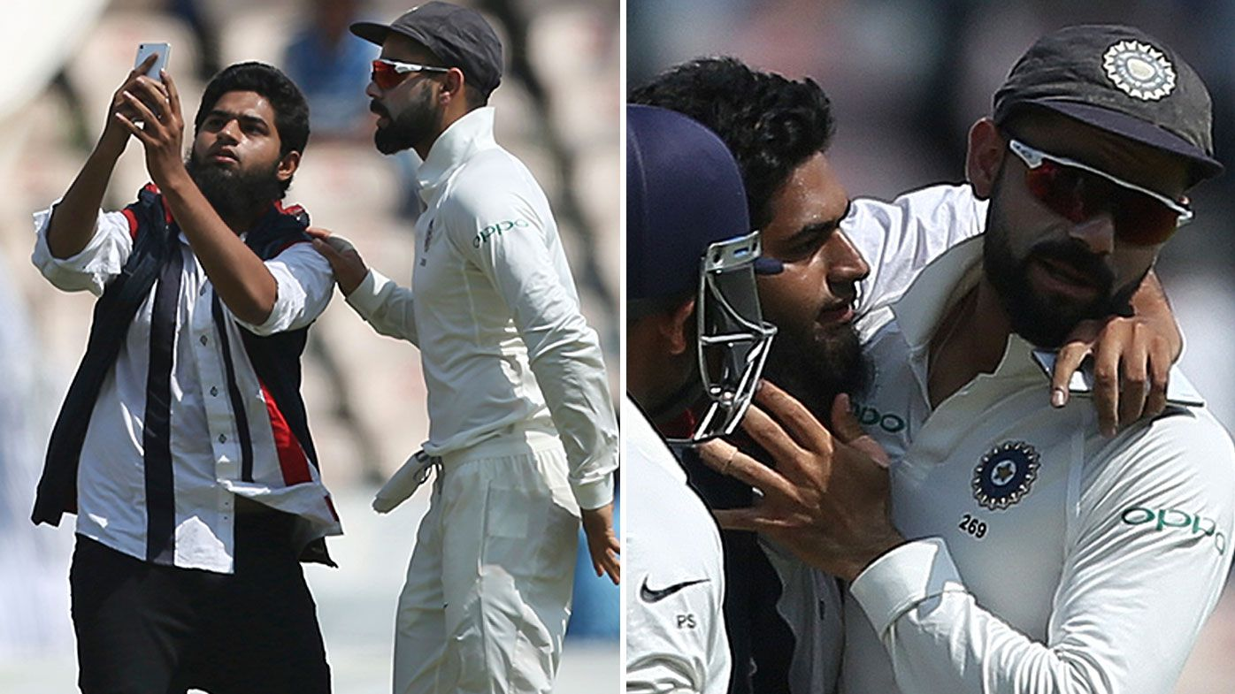 Indian cricket fan breaches security, attempts to plant a cheeky kiss on Virat Kohli