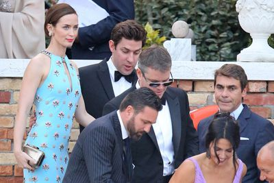 Emily Blunt and husband John Krasinski board the vintage water taxi en route to the nuptials. <br/>