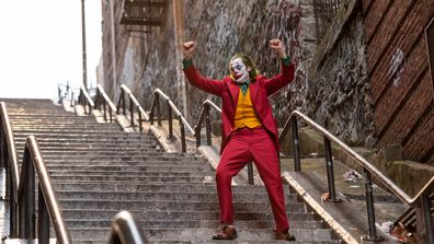 Joaquin Phoenix, Joker, movie, staircase scene