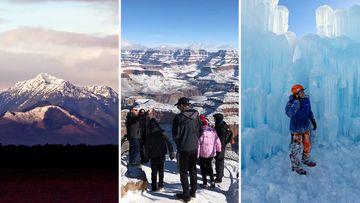 USA winter desert snow
