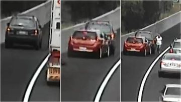 On a road with a 100km/h speed limit, many drivers are pulling over for no apparent reason, endangering themselves and other drivers on the busy M7 motorway.