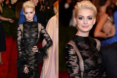 The Oscar winning actress played the part of punk to perfection with a cropped new do and I-don't-care attitude in a see-through Valentino gown.