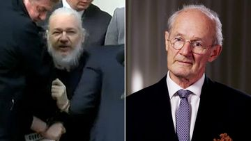 Julian Assange and his father John Shipton.