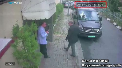 CCTV allegedly shows Saudi journalist Jamal Khashoggi (right) entering the Saudi consulate in Istanbul, Turkey, before he vanished.