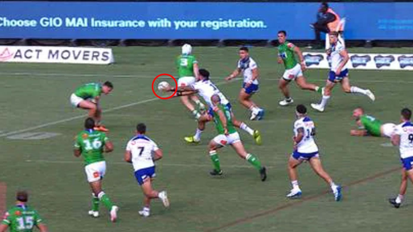 Kodi Nikorima's forward pass was allowed to stand. (Nine)