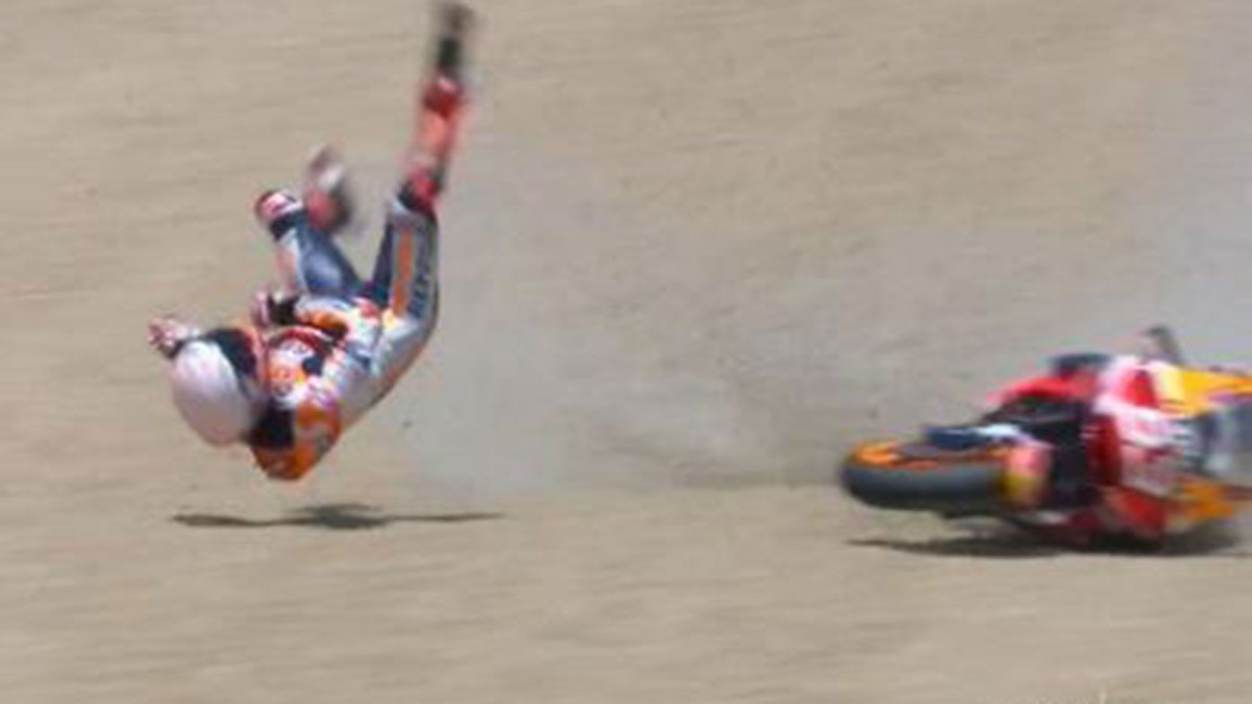 Marc Marquez suffered a broken arm after crashing in Spain.