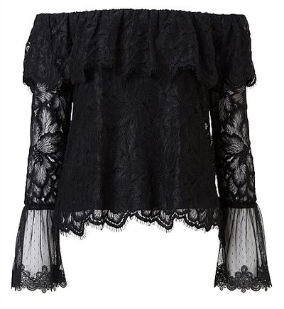 """<a href=""""https://www.witchery.com.au/products/60212750/Lace-Off-Shoulder-Top.html"""" target=""""_blank"""">Witchery Lace Off Shoulder Top, $99.95.</a>"""