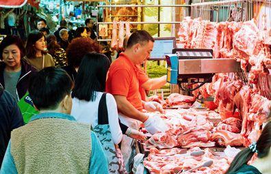 Mong Kok wet markets, butcher