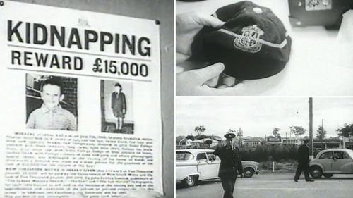 A photo of Graeme Thorne's missing poster, school cap and police presence following his disappearance in July 1960.