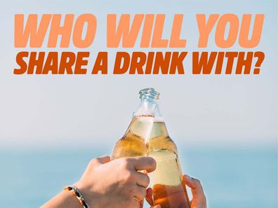 """A picture of two people clinking beer bottles together with """"Who will you share a drink with?"""" written above in bold orange font for BWS Summer campaign"""