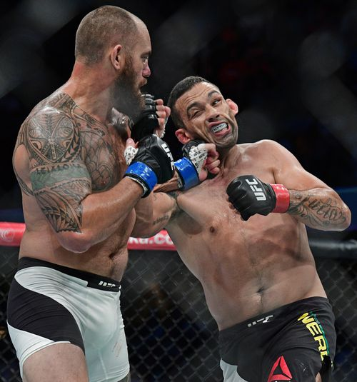 Travis Browne, left, punches Fabricio Werdum, from Brazil, during a heavyweight bout at UFC 203 in Cleveland last year. (AAP)