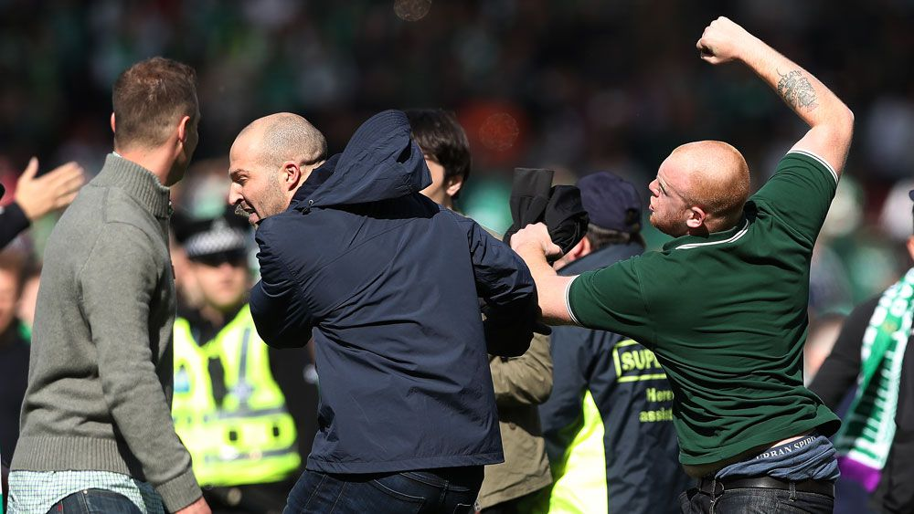 Hibernian Cup win marred by pitch invasion