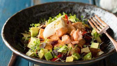 "Recipe: <a href=""https://kitchen.nine.com.au/2016/10/19/15/42/salmon-mexican-mess-bowl"" target=""_top"">Salmon Mexican mess bowl</a>"